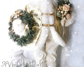 Victorian Santa. Old World Charm Santa doll. Kris Kringle. St Nick. French Farmhouse. Shabby Chic .Christmas Decoration