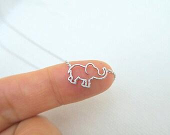 Tiny Elephant Necklace Baby Animal Necklace Minimalist Jewelry, Birthday Gift, Everyday Wear Gold Necklace
