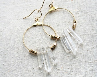 Crystal Earrings, Boho Hoop Earrings, Bohemian Earrings