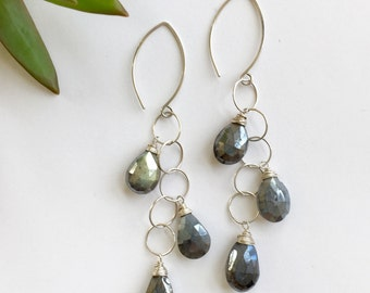 Cascading AB Labradorite Pear Teardrops with Sterling Silver