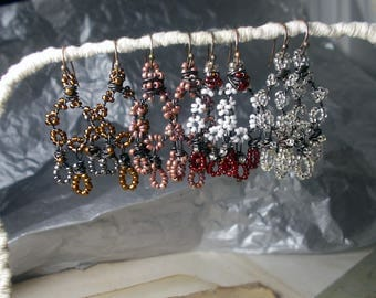 Beaded Chandelier Earrings | Rustic Drops on Steel Wire | 3 Colors, You Choose | Metallic | Valentine | Translucent Clear