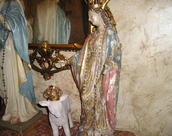 "Elaborate EXLG. 26"" Virgin Mary/Madonna Religious Devotional Detailed,Painted Crownned Plaster Statue w/Cross. and Lamb.Fab."