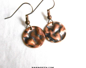 Copper Coin Hammered Earrings - Surgical Steel French Hooks Antiqued Copper
