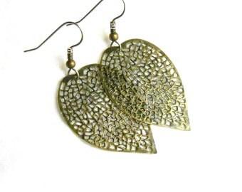 Leaf Earrings Antiqued Bronzed Filigree Surgical Steel French Hooks Hydrangea Leaves