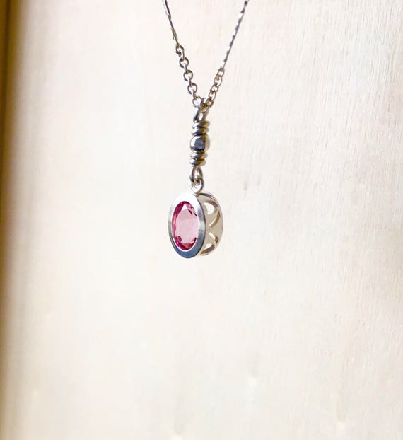 Pink Topaz Solitare Necklace Sterling Silver