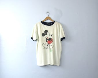 Vintage 70's rare Mickey Mouse shirt, graphic tee, ringer shirt, size medium