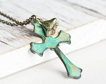 Rustic Cross Necklace with Age Green Patina Necklace on Antiqued Brass Chain (Accent Flower Bead Optional)