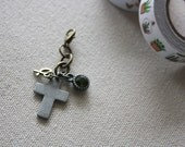cross charm, planner charm, midori charm, dangle charm, beaded charm, purse charm