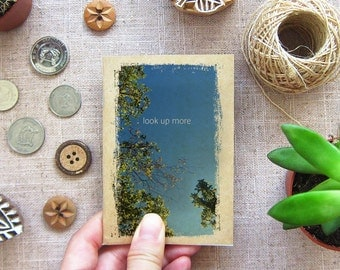 Small Notebook Sky 46. Look Up More - Blue Sky Mini Pocket Notebook - A Happy Little Gift For A Positive Little Friend