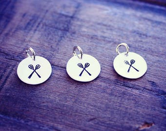 Hand Stamped Lacrosse Charm, Silver Lacrosse Charm, LAX Charm, Sterling Silver Lacrosse Charm, Lacrosse Coach Gift, Lacrosse Team Gift