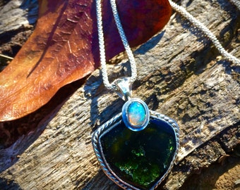 Awakened Heart- Green Tourmaline and Welo Opal Necklace