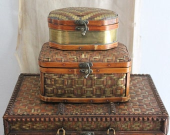 Vintage Decorative Woven Rattan And Brass Suitcase