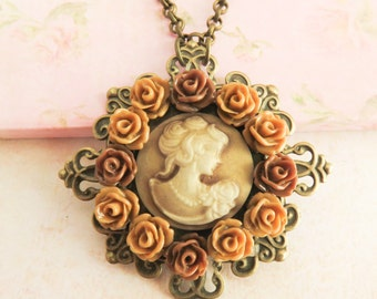 Cameo necklace, pendants, victorian style necklaces, floral jewelry, girlfriend gift, for her, vintage style jewelry