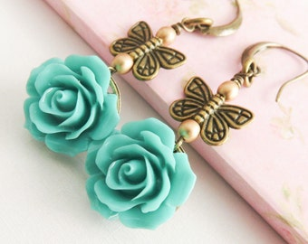 Reserved listing. Turquoise flower earrings and matching necklace
