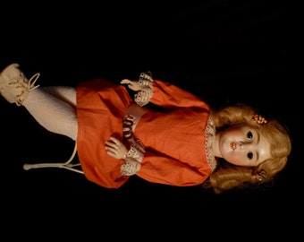 "Antique German Bisque Head Composition 24"" Queen Louise AM Armand Marseille Doll"