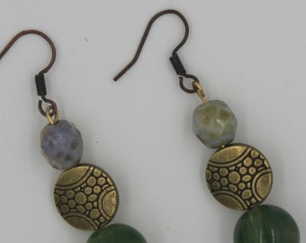 Rustic Green and Brass Earrings
