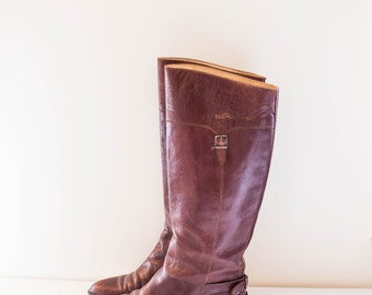 BRONX by Dijkmans brown italian leather knee high buckle boots size 38 - US 7