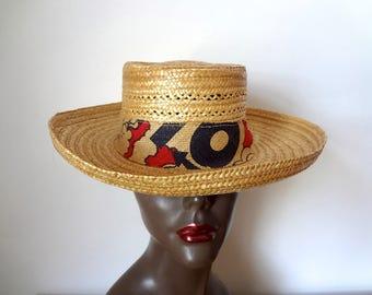 Vintage 1950s Straw Hat - NOS wide brim sun hat