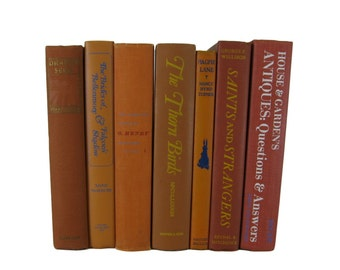 Orange and Rust Decorative Books, Vintage Wedding Decor , Vintage Book Decor , Home Decor , Photo Prop , Bookshelf Decor