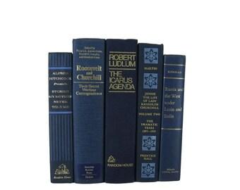 Blue Decorative Vintage Book Set, S/5