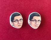 Ruth Bader Ginsburg Earrings, RBG, Supreme Earring Studs, Notorious RBG jewlery earrings