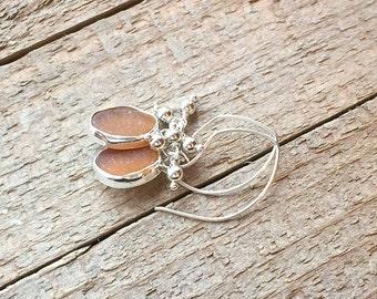Sea Glass Earrings Dark Amber Argentium Sterling Silver Jewelry 935