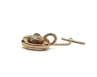 Vintage Telephone Tie Tack Gold Tone Rotary Phone Communications Lapel Pin Figural Jewelry