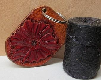 Western leather keychain, key ring , key fob, key holder, floral keychain,  tooled floral keychain, Red flower, ladies keychain, leather