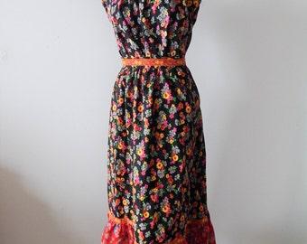 "1970s Boho Tiered Prairie Skirt with Matching Blouse 24"" Waist; 2 Pc Dress"