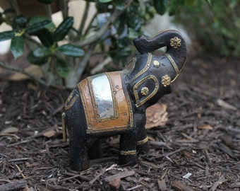 Vintage Wooden Elephant with Brass and Copper FREE Domestic Shipping