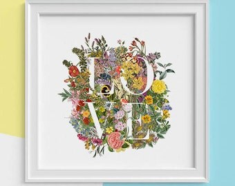 LOVE wall art Typography and wild flowers Print, wall art, Spring celebration  art print. New home gift art print, Girlfriend gift TVH248SQ1