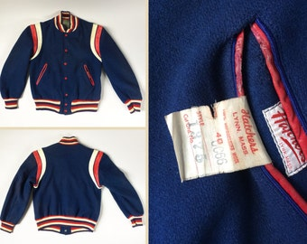Vintage 1960s Hatchers Royal Blue Wool Varsity Athletic Jacket Red White and Blue Trim Leather Detail