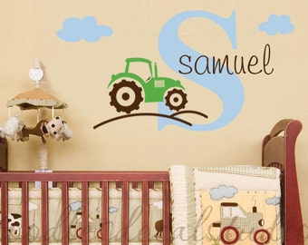Name Tractor Wall Decal/ Tractor Decal/ Boys Room Wall Decal/ Nursery Wall Decal/ Kids Boys Name Decal