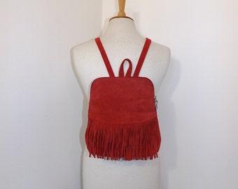Vintage real red suede leather fringed backpack back pack bag tassel detail