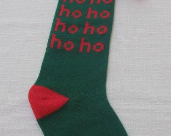 Christmas Ho Ho Stocking, Vintage Dept. 56 Stocking, Red Green Holiday Stocking, 1985