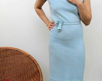 1960s Baby Blue Belted Sweater Dress Size UK 10, US 6, EU 38