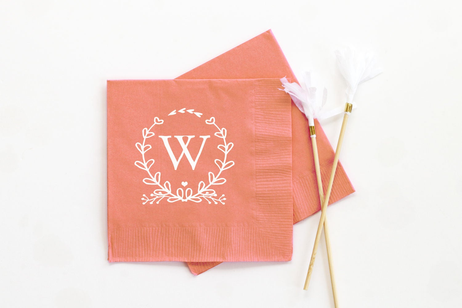 Monogram Wedding Napkins Personalized Cocktail Napkins Custom