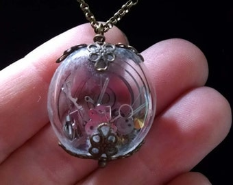 Steampunk Bubble Bead Necklace Filled With Watch Parts