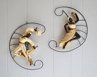 Vintage Chalkware Spanish Dancers Wall Hangings with Metal Crescent Frames