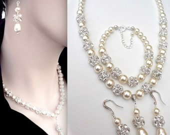 Brides jewelry set ~ 3 piece pearl set ~ Swarovski pearls and crystals ~ Pearl Bracelet, Earrings, Necklace - Brides Jewelry set- HOLLY