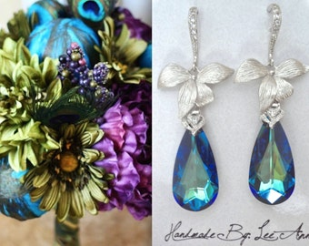 Bermuda blue crystal earrings ~ Swarovski crystals ~ Sterling wires ~ Something blue ~ Peacock ~ Destination wedding jewelry~Orchid earrings