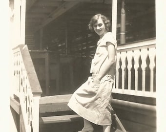 "Vintage Snapshot ""Tread Lightly"" Flapper Dress Porch Stairs Gingerbread Trim Found Vernacular Photograph"