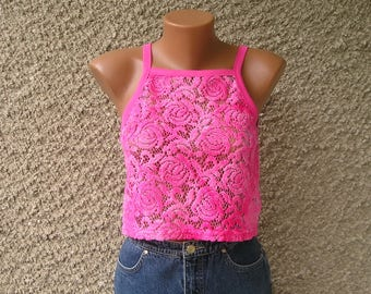 Vintage sheer crop top with roses, size S-M