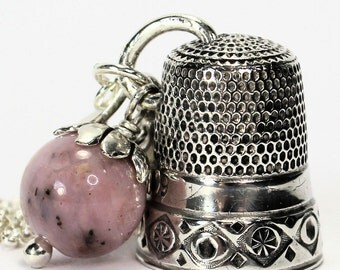 Antique Thimble and Acorn Hidden Kisses Peter Pan Necklace Solid Sterling Silver and Pink Opal