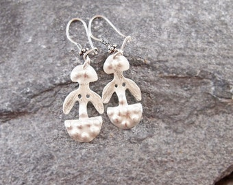 MOTHER GODDESS EARRINGS, Archaeology Jewelry, Twin idols, Historical Dangle, Sterling Silver
