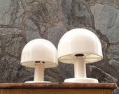 Vintage white ABS plastic mushroom table lamp with metal base. Set of two. Seventies space age, atomic design.