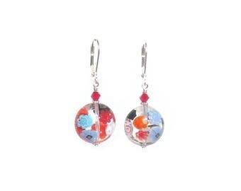 Murano Glass Colorful Millefiori Disc Earrings, Leverback Earrings, Venetian Jewelry, Italian Jewelry, Sterling Leverback, Clip ons