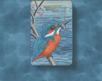 Kingfisher original art ACEO made from an altered vintage playing card, the King of Diamonds. Miniature painting of a kingfisher bird