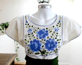 Embroidered mexican top,Undyed Manta,cotton blouse,Blue & green flowers,hand Embroidery,Boho shirt,bohemian Tunic,floral, Belt (fajo),Women.
