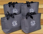 Set of 4 Tote Bags for Bridesmaid Personalized Gifts Weddings Birthdays